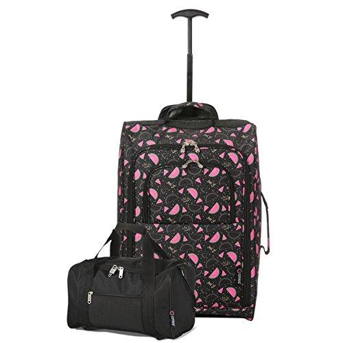 54 42 Set On and 5 Carry Black cm Cities Watermelon Luggage Approved BothHand Cabin Second L Black Ryanair Black Main 0w70F6q