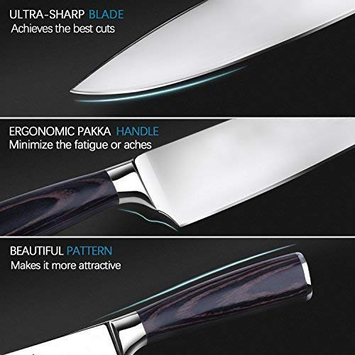 Professional Chef Knife, Soufull 8 inch Stainless Steel Kitchen Knife-Razor Sharp Durable Blade,Well Balanced Ergonomic Pakka Wood Handle,Multipurpose Top Chef's Knife with Gift Box