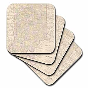 3dRose Vintage Indiana Map USA - Soft Coasters, set of 8 (cst_178872_2)