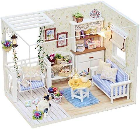おもちゃミニチュアドールハウスキットDiyミニチュアルームセット-木工建築キット-木製モデルビルディングセット-ミニハウスクラフト最高の誕生日プレゼント女性と女の子のためのギフト