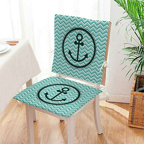 Seat Anchor Medallion - Mikihome 2 Piece Set Chair pad Horizontal Zig Zag Pattern Background Anchor Image in Circle Shape Medallion Garden Patio Home Chair Cushions Mat:W17 x H17/Backrest:W17 x H36