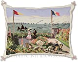 Limited Edition Handmade Claude Monet Garden at Sainte-Adresse French Painting Needlepoint Pillow. 18'' x 22''.
