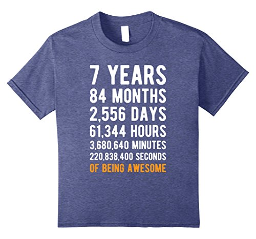 Kids 7th Birthday Gift T Shirt 7 Years Old Being Awesome Tee 8 Heather (7th Birthday Party Ideas)