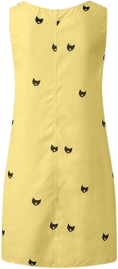 Snowfoller Tank Dress Women Cute Cat Printed Mini Dress Casual Crew Neck Pockets Short Dresses Plus Size