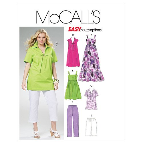 Amazon.com: McCall\'s Patterns M6085 Women\'s Tops, Dresses, Shorts ...