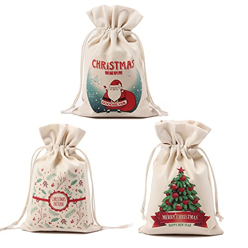 Cheap KARRESLY Set of 3 Cotton Gift Bags Christmas Drawstring Travel Storage Pouch Multi-Functional Bag Travel(1#)