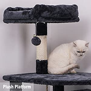 BEWISHOME Cat Tree Condo Furniture Kitten Activity Tower Pet Kitty Play House Playground with Scratching Posts Perch Hammock Tunnel Grey 61'' MMJ02B