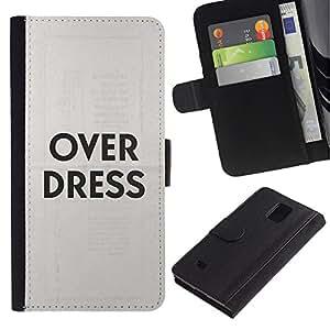 Paccase / Billetera de Cuero Caso del tirón Titular de la tarjeta Carcasa Funda para - Over Dress Fashion Clothes Grey Text - Samsung Galaxy Note 4 SM-N910