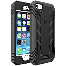 Poetic Cases Revolution Rugged Case for iPhone SE with Built-In Screen Protector, Black