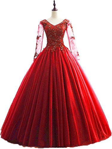 Okaybrial Women's Prom Gowns with Sleeves V Neck Tulle Appliques Beaded Dresses for Quinceanera