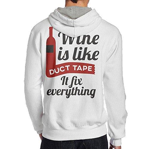Wine Is Like Duct Tape It Fix Everything Men's Pullover Hoodie Sweatshirt Back Print Hoodies Everything Adult Hoody Sweatshirt