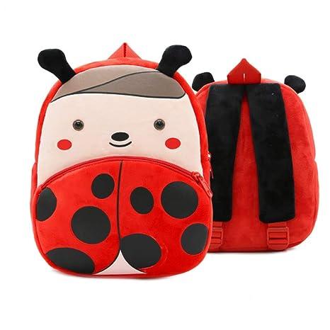Mochila de guardería Mochila Ladybug Design Kids Mochilas Cute Schoolbags Felpa Niñas Niños Dibujos animados Animales