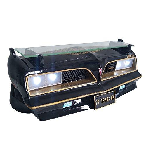 "Black 1977 Pontiac Trans Am Decorative Wall Shelf with Working LED Headlights for Automotive Car Enthusiast 19.5"" W x 7.5""H x 7"" D weight 7 lbs."