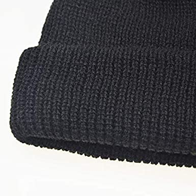 COTZFUS Winter Solid Color Skull Cap Men Women Solid Knitted Skullies Cap Female Male Black Hat