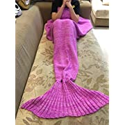 Amazon Lightning Deal 82% claimed: Hughapy174; Summer Thin Soft Mermaid Tail Blanket Handmade Living Room Sleeping Bag For Kids Adult