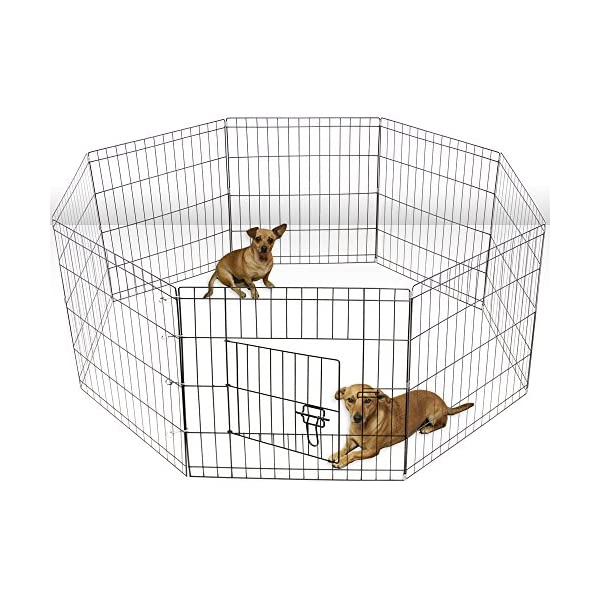 Paws & Pals Dog Exercise Pen Pet Playpens for Dogs - Puppy Playpen Outdoor Back or Front Yard Fence Cage Fencing Doggie Rabbit Cats Playpens Outside Fences with Door - Metal Wire 8-Panel Foldable 2