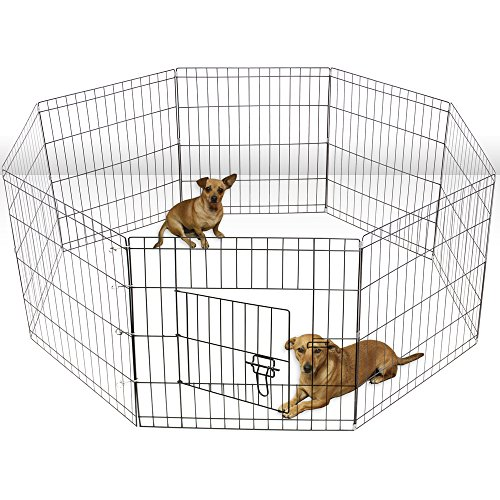 oxgord-metal-wire-8-panel-folding-exercise-yard-fence-for-pets-24-inch-black