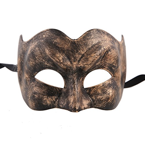 Carnival Of Venice Italy Costumes (Xvevina Vintage Venetian Joker Jester Half Face Halloween Masquerade Carnival Costume Mask (antique black/gold))