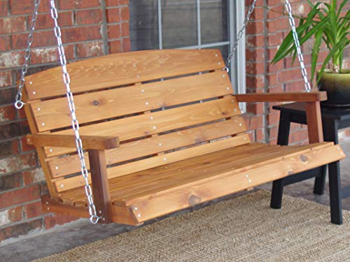 THREE MAN Lodge Style Cedar Porch Swing with Chain – 6 Ft with Stain & Sealant – Redwood Color