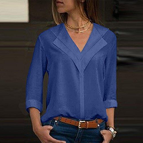 Dames Bleu Longues Femmes Blouses Manches des Shirt T Chemisier Soie Solide Mousseline de Bureau zqUgSz