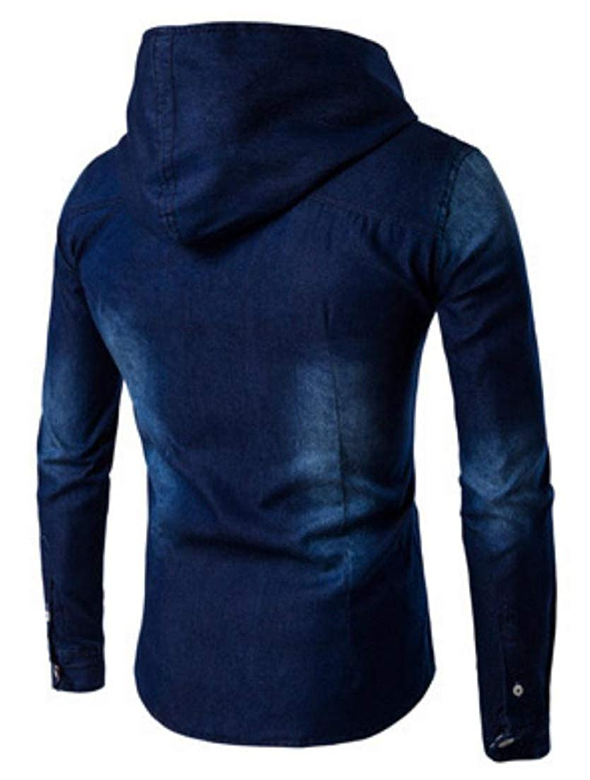 Joe Wenko Mens Denim Faded Tops Loose Long Sleeve Washed Hoodie Button Front Shirts