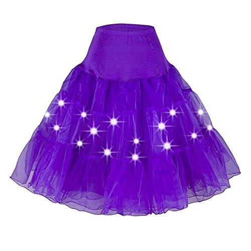EESIM Women's Petticoat Skirts Crinoline Tutu Underskirt Party Dance Petticoat with LED Light up Neon Plus Size (M-5XL)]()