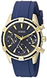 GUESS Women's U0562L2 Sporty Gold-Tone Stainless Steel Watch with Blue Dial, Crystal-Accented Bezel and Silicone Strap Buckle