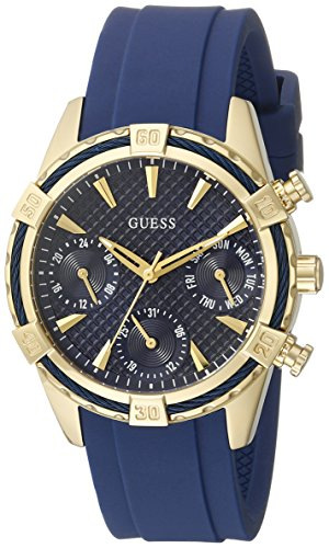 GUESS Women's U0562L2 Sporty Gold-Tone Stainless Steel Watch with Blue Dial, Crystal-Accented Bezel and Silicone Strap ()