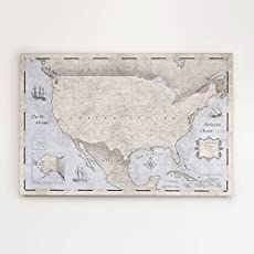 usa travel map pin board rustic vintage