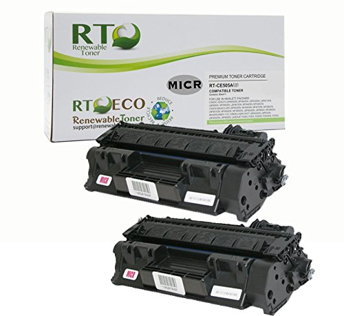 Renewable Toner Compatible MICR Toner Cartridge Replacement for HP 05A CE505A LaserJet P2035 P2055 (Black - 2-Pack)