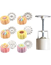 Rose Flower Mooncake Mold Hand Pressure Mould Cookie Cutter, Pack of 7
