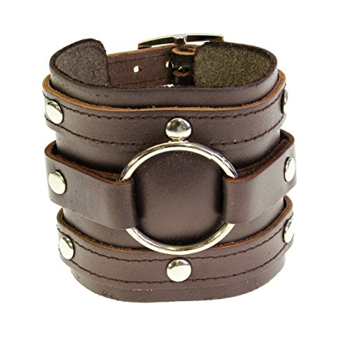 Neptune Giftware Leather Wide Triple Strap Cuff Wrap Gothic Wristband Buckle Fastening - DARK BROWN LEATHER