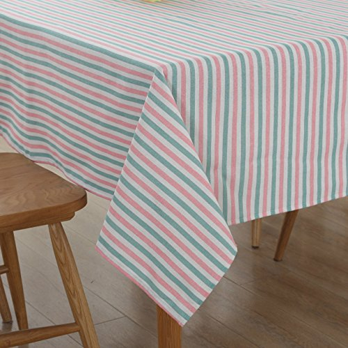 Stripe Linen Rectangle Tablecloth Rectangular Indoor Outdoor Picnic Camping Kitchen Dining Living Room Table Tablecloths Long Pink and Grey 55x86 Inch (Dining Seats Table 10 Extra Long)