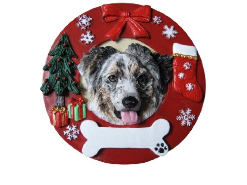 - Australian Shepherd Christmas Ornament Wreath Shaped Easily Personalized Holiday Decoration Unique Australian Shepherd Lover Gifts