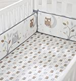 crib bumper owl girl - Cuddletime Starry Night Owls Crib Bumper, Gray