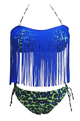 Sidefeel Halter Fringed Printed Swimwear