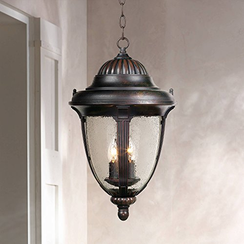 Casa Sierra Traditional Outdoor Ceiling Light Hanging Lantern Bronze 20 1/2