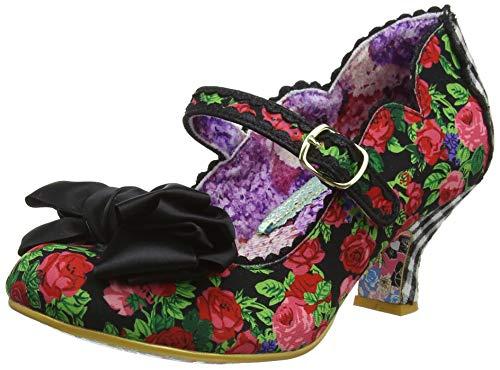 Irregular Choice Summer Breeze Mid Heel Shoes in Black with Flowers (EU 37, Black ()