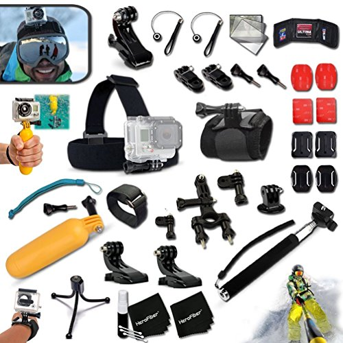 Price comparison product image Xtech Professional 37 Piece Accessory Kit for GoPro HERO4,  Hero3,  Digital Cameras Includes: Head Strap Mount, Floating Bobber Handle, Durable Bike Mount, Handheld Waterproof Monopod, Attachable Helmet Mount, Wrist Mount, Plus MORE.