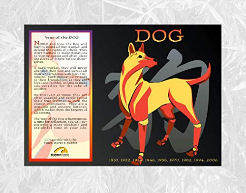 Goldenwave Creations Asian Oriental Chinese Zodiac Poster Year of The Dog: 1934, 46, 58, 70, 82, 94, 06, 2018