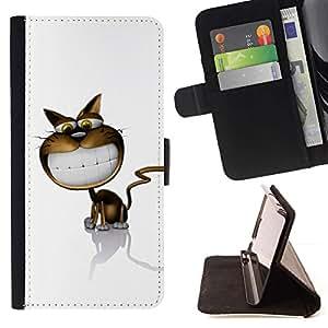 Momo Phone Case / Flip Funda de Cuero Case Cover - Cartoon Cat Comic Sonrisa grande dientes blancos Arte - LG G3