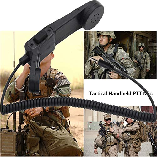 USDREAM H250 Army Radio Microphone Military Handheld Speaker Mic with  Shoulder PTT 3 5mm Audio Jack for Cell Phone, Smart Mobile Phone and More
