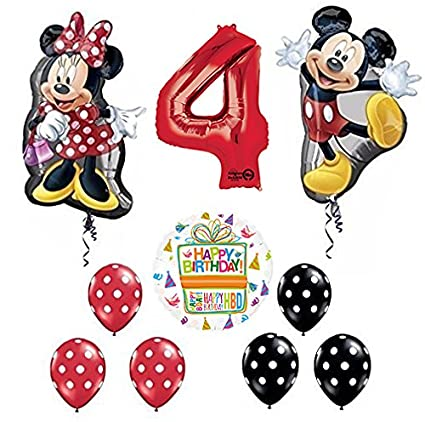 Amazon.com: Mickey y Minnie Mouse Full Body 4th cumpleaños ...