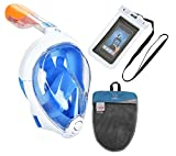ADVSEA Tribord/Subea Easybreath Full Face Snorkel Mask (2018 Version) with Waterproof Phone Case, (Blue M-L)