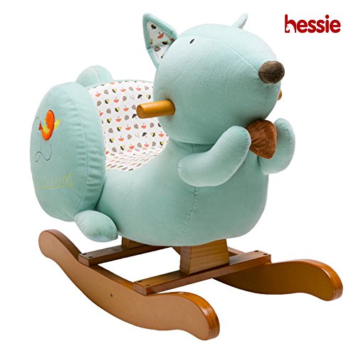 Hessie Modern Plush Rocking Horse with Soft Cute Stuffed Animal, Indoor Ride On Toys Rockers for Toddlers Kids Little Boys & Girls (6-36 Months) - Padded Cyan -