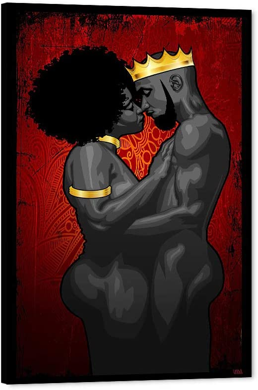 online shopping African American Canvas Art Popular overseas Print Black Wal Queen King Love and