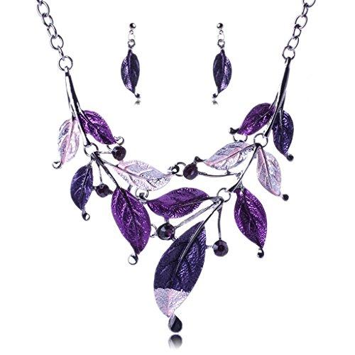 Beydodo Women White Gold Plated Leaf Jewellery Set Purple Crystal Bohemian Trailers Necklace Earrins (Red Jade 14kt Bracelet)