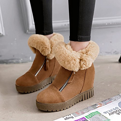 Faux Platform Snow Fur Deep Women's Boots Hidden Zip Winter Yellow Heel Carolbar fBHTwqRUU