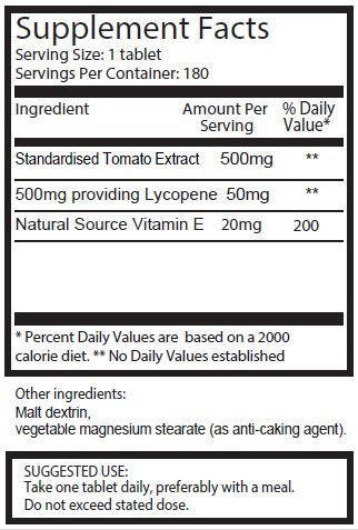 Lycopene 50mg x 180 Tablets (6 Months Supply). 300% Strength of Regular Lycopene Tablets. SKU: LY3 by pureclinica