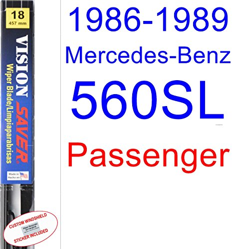 Amazon.com: 1986-1989 Mercedes-Benz 560SL Wiper Blade (Passenger) (Saver Automotive Products-Vision Saver) (1987,1988): Automotive